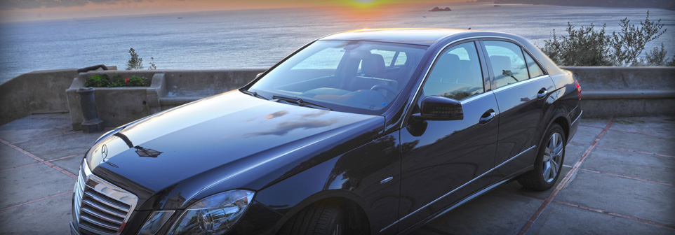 mercedes luxury car of the Positano Car Service's Car Park